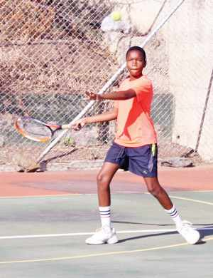 On the court dominance: Young and full of energy, Randel Kavandje in action as he dominated his beginners division