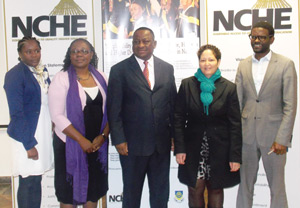From the left, Mrs Kashiwanwa Neshila, Development Officer: Alumni and Networking, University of Namibia, Ms Kumbi Short, General Consultant, International University of Management, Dr Kalumbi Shangula, Chairperson of the National Council for Higher Education, Mr Anneley Willemse, Senior Higher Education Officer at the National Council for Higher Education and Mr Efraim Dumeni, Manager: Infromation and Research, Polytechnic of Namibia, at the launch of the Namibia Tracer Studies Survey on Wednesday at the Polytechnic Hotel and Tourism School. (Photograph by Mandisa Rasmeni)