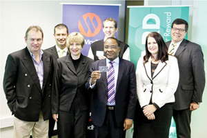 From the left: Hendrik Kotze, Chief Information Officer: Bank Windhoek, Ryan Geyser, Old Mutual Senior Manager: Product & Channels, Brigitte Weichert, Old Mutual Chief Financial Officer, Sakaria Nghikembua (front) MD of Old Mutual Short Term Insurance, Louis du Toit (back) Old Mutual Property Executive, Marlize Horn, Bank Windhoek Executive Officer: Marketing & Corporate Communication Services, and Chris Matthee , Acting Managing Director of Bank Windhoek.