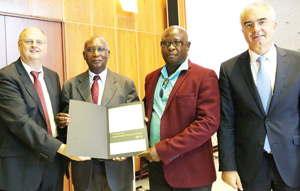 From left to right: Frank Mentrup (Mayor of Karlsruhe), Joseph Myamunda (SME Bank), Karl Aribeb (EIF), and Jochen Ehlgoetz (Karlsruhe Technology Region).