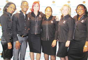 From left to right: Line Shitemba, Raymond Gariseb, Reinette Vermeulen, Cynthia Mariine, Angelique Peake and Charmaine Mberira. Not pictured are Desideruis Afunde, Lavinia Shikongo, Zico Maasdorp and Sydney Tjipuka.