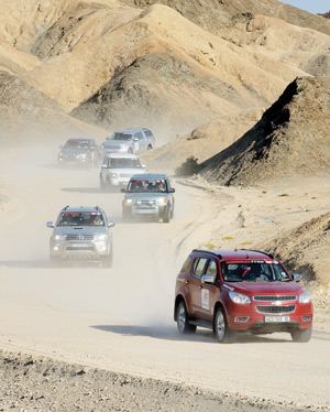 Eat my dust and follow the leader: The convoy that took on the rough terrain in the country during this year's edition the recently concluded General Tyre 4x4 African Adventure.