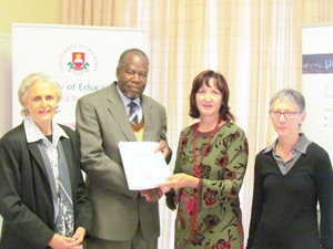 Prof Lazarus Hangula, Vice-chancellor of UNAM with study authors Prof Jeanne Tötemeyer (left), Emma Kirchner and Susan Alexander.