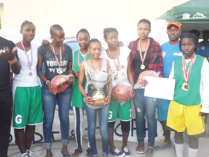 Gabriel Taapopi girls basketball team are the victors in the OTB Sport Bos tournament held earlier in July in Oshakati.
