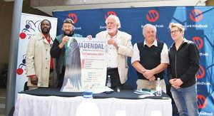 The Genadendal cast (f.l.t.r) David Ndjavera, Randall Wicomb, Aldo Behrens, Jo Decaluwe (Belgium) and Jacus Krige.