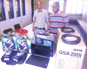 Base FM station manager, Marco Ndlovu with the broadcasting equipment of almost N$40,000 donated to the radio station last week to support the Katutura community to grow its scope of debate in preparation for the elections at the end of the year.