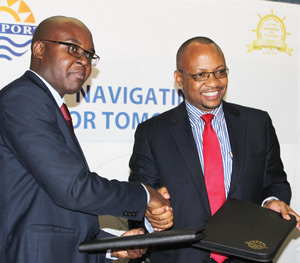 Development Bank CEO,Martin Inkumbi (left) and Namport CEO, Bisey /Uirab took a bold decision in deciding to award Namport tenders to companies that have a serious agenda in empowering local communities. (Photograph by Namport)