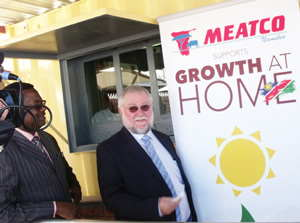 Ministry of Trade and Industry Calle Schlettwein among the first to purchase the Meatma products at the Meatco headquarters. (Photograph by Freeman Ngulu)