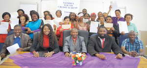 The beneficiaries of the Namibia Youth Credit Scheme pictured with the personal assistant to the Hardap Governor, Mr. Carl Christians and Councillor for the Mariental Urban Constituency, Hon. Barakias Namwandi. (Photograph by Hilmah Hashange)
