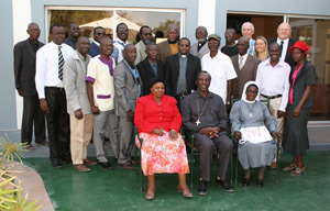 At a meeting in Ondangwa earlier this month, church leaders convened to discuss a strategy for new translations of the Bible in indigenous languages. The director of the Bible Society, the Reverend Barnie van der Walt, and the technical advisor, Gerrit van Steenbergen, stand in the back row on the right.