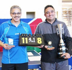 We are the champions; On the left  Rudi Saunderson shares the spotlight with National champion Ramon Hansen at last weeks Table Tennis Nationals