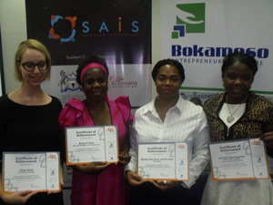 Four of the 16 Femmies who graduated on Wednesday from a four month programme that enhances their entrepreneurial skills and teaches them how to manage their business. (L-R) Tanya Stroh, Tulipamwe Designs, Rauna Aron, AR & Daughters Investment, Monica Lopez, Soakuddly and Michelle Ngaranwgombe, Mich Solar Lighting. (Photograph by Mandisa Rasmeni).