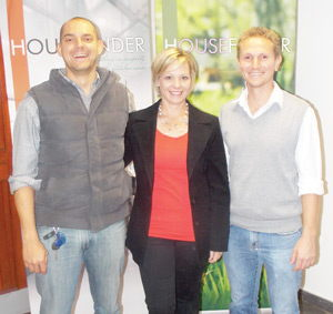 (L-R)Wilko Aschenbor, Managing Member of Intouch and My.Na, Ronel de Beer, Owner of Housefinder Magazine and Ernst Kubirske, General Manager, My.Na, are happy to launch The Property Finder tool on the Housefinder website. (Photograph by Mandisa Rasmeni)