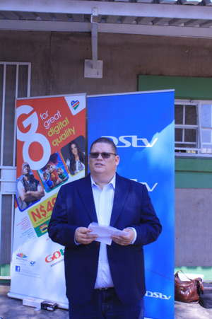 Roger Gertze, General Manager, MultiChoice Namibia at the handover ceremony of a new MultChoice Resource Centre (MRC) at the Onehoni Combined School, Efinde Village, Ohangwena