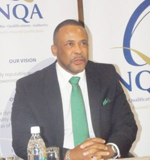 Franz Gertze, Chief Executive Officer, Namibia Qualifications Authority (NQA), warning students and private training providers not to enrol and offer courses accredited to the Institute of Commercial Management (ICM). (Photograph by Mandisa Rasmeni).