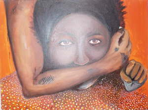 "This powerful visual was on display at the Orange Day gathering against gender violence last week at the Katutura Community Arts Centre. The artists Peter Mwahalukange and Frans Kapiya said the painting depicts the Namibian culture, especially the Owambo culture, where women are used as tools to enrich the men by working in the filed, cooking for the family and looking after the cattle. ""If she does not work hard the man beats her and some are also beaten if they do not produce babies"". The arm in the painting is of a man holding a woman down and covering her mouth, silencing her. ""This must stop, the bad heritage can also change because we are in a developing world, the culture can change so that we do not beat women and also so that we do not teach our children these bad habits,"" explained the artists."