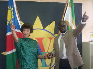 Vernonica De Klerk, outgoing Executive Director, WAD and Salatiel Shinedima, the in coming Executive Director, WAD, pointing upwards which signifies that WAD will move from strength to strength with its new Director. (Photograph by Mandisa Rasmeni)