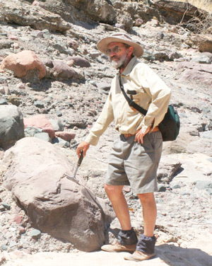 Dr Roy Miller, Geologist, earth-friend, mineral expert, near Otjiha in November 2008. Dr Miller's lifelong contribution to his discipline is recognised later this month at a symposium in his honour where his colleagues will
