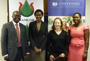 Managing Director of Namcor, Obeth Kandjoze (left), Chevening student, Alina Fimaneka Haidula, British High Commissioner, HE Marianne Young, and Petrofund administrator, Lillian Mulemi.