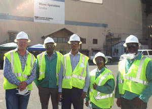 ARSENIC UPDATE – from left, Brent Johnson (DPMs Inc.), Theofilus Nghitila (MET), Theo Uvanga (DP MT), Penny Munkawa (MLSS) and Abraham Kanime (MET), shown here at the Freeport-McMoRans copper smelter in Miami.