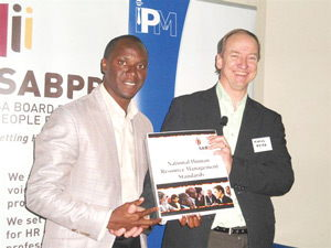 Tim Ekandjo, President of IPM Namibia and Marius Meyers CEO of the South African Board of Personnel Practice.