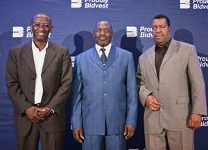 From the left are Sebby Kankondi, CEO of Bidvest Namibia Holdings, Hon Tjekero Tweya, Deputy Minister of Trade and Industry, Theo Mberirua, Director at Bidvest Namibia Commercial Holdings.
