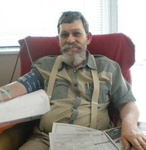 Mr Anton Bredell relaxes in the blood donation chair on Wednesday this week.