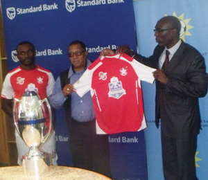 L-R) The two captains of Black Africa and African Stars wearing the new kits that Standard Bank Namibia donated to them for the Standard Bank Super Cup soccer match that will be played this Friday at the Sam Nujoma Stadium. (Photograph by Mandisa Rasmeni)