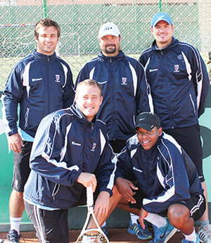 The Davis Cup team that put on a brave effort: Back (Ben-Piet O'Callaghan, Johan Theron, Hermann Kuschke) Front (Henco Serdyn, and Tuki Jacobs)