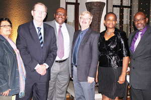 From the left, Nicolette Bessinger of the Psychosocial Support Initiative , Ian Leyenaar, CEO of FNB Namibia, Lehlohonolo Chabeli Head, also of the Support Initiative, Dixon Norval of FNB Namibia, Nancy Chimhandamba, another Psychosocial Support Initiative member, and Heroldt Murangi, the Director of NAMCOL.