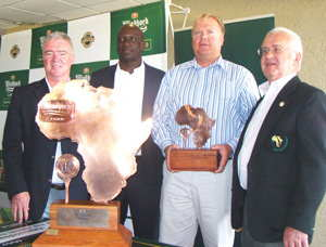 fltr Ian Stevenson, Manager Sponsorships & Events at NBL; Amos Shiyuka,  Deputy Chairman of the Namibia Sports Commission, Hugh Mortimer, Executive member of NAGU and recently appointed Secretary General of the Africa Golf Federation, Namibian Stefanus van der Merwe 2014 winner of the C division.