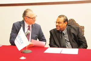 Dr Stefan Oschmann and Prof Sidat Mohsin, dean of the medical school at Eduardo Mondelane University in Maputo.