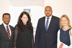 From left to right Professor Tjama Tjivikua, Dr. Corinna Haeger, Neville Mbai and Annegret Al-Janabi, the team at the forefront of development of Logistics and Transport.