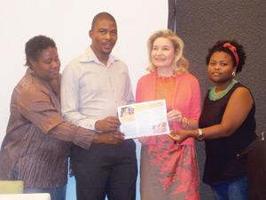 "Moses Khumub from WIMSA/NSC, Elfriede Gaeses from WIMSA, Ambassador of Finland, H.E Anne Saloranta, and Elsarien Katiti the director of proceedings launching the Namibian San Council pamphlet on ""Inclusive education for San children in Namibia"" in the capital this week. (Photograph by Comfort Ajibola)"