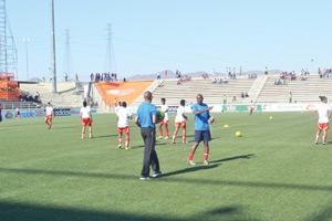 Brave Gladiators going through the paces before their deciding game against the Super Falcons at the Sam Nujoma Stadium as they eye a semifinal spot.
