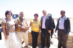 From left to right, Yvonne Bock, Chairperson of the Gibeon Village Council, Councillor Jeremia Van Neel, Amanda Rooi from the Falkenhorst Community, Councillor Theo Diergaardt and Councillor Jan Janson from Aranos. (Photograph by Lorato Khobetsi)