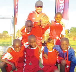 Otjiwarongo FC U11 team all smiles after winning bronze medals in the KIA Youth Soccer Tournament last weekend.