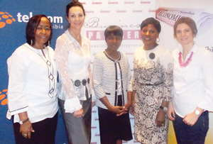 (L-R) Inge Zaamwani-Kamwi, Chief Executive Officer, Namdeb Diamond Corporation, Desere Lundon-Muller, Chairperson, Economist Businesswoman Club, Ericah Shafudah, Namibian Businesswoman of the Year 2013, Martha Namundjebo-Tilahun, Chairperson, United Africa Group and Eloise du Plessis, Country Manager, Business Partners International at the Economist Businesswoman Club networking Breakfast last week Friday. The networking breakfast was sponsored by Telecom Namibia and Business Partners International. (Photograph by Mandisa Rasmeni)