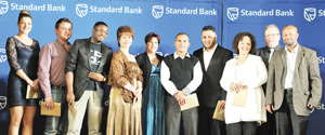 The Standard Bank Paradise Island winners (L-R)Sansi Thiron, Novel Motor Company, Miller Jansen van Vuuren, Steckel's Toyota, Corrie Katjiru, Pupkewitz GWM, Bernice Bessinger, Autohause Mastercars, Jolize Barnard, IndongoToyota, Eddie van Wyk, Autohause Mastercars, Jacques Routh, Pupkewitz Toyota, Janice Isaacs, M & Z Motors, Pierre Gous, AMH Renault and Junius Mungunda, Chief Executive, Standard Bank Namibia.