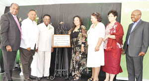 At the recent inauguration of Rehoboth's first modern shopping complex. From l to r: Managing Director of Old Mutual African Operations, Johannes !Gawaxab; fisheries minister Bernard Esau; GIPF chief executive officer David Nuyoma; Governor of Hardap Region, Katrina Hanse-Hirmarwa; Rehoboth mayor Eva Maasdorp; Member of Parliament Maureen Jankowski and DebMarine chief executive officer Otto Shikongo.
