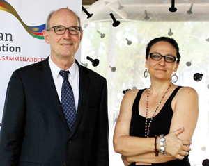 German Ambassador, H.E. Onno Hückmann and intermedia artist, Karina Smigla-Bobinski