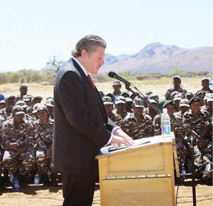 U.S. Embassy Chargé d' Affaires, ad interim Mr. John Kowalski addressing the Namibian Defence Force during the donation of equipment valued at N$1,134,000