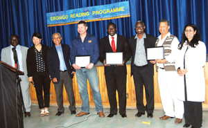 From the left are Engelhardt Uirab (Inspector of Education), Katrien Van Rooi (Senior Education Officer), Mark Jacobs (Deputy Director PQA), Hannes Uys (CEO of EBH Namibia), Lysius Uusiku (Acting Chief Education Officer at the Rössing Foundation), Elia Manga (Deputy Director, Life Long Learning), Theo Whittaker (Managing Director of Educational Concepts) and Ursula Matzopoulus (Senior Education Officer at the Rössing Foundation).