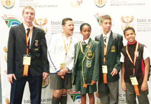 The Namibian team at the Eskom Expo for Young Scientists International Science Fair. (f.l.t.r) Branden van der Colff, Albert Weck, Wilka Johannes, Jesse Witbooi and Craig McNally.