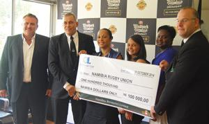 Holding the N$500,000 cheque, from left to right: Wessie van der Westhuizen, NBL Managing Director; Bradley Basson, NRU President; Jacquiline Pack, NBL Senior Brand Manager: Windhoek Trade Mark; Carmen-Rae Bridgens, NBL Brand Manager: Windhoek Trademark; Rosemary Shippiki, NBL National Marketing Manager; & Sybrand De Beer, NRU CEO.