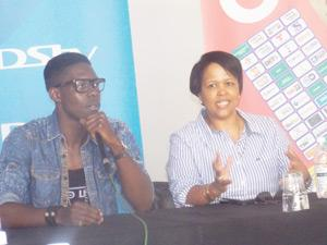 Luis Munana, evicted Big Brother Hotshot and Namibian housemate, with Katrina Sikeni, Public Relations and Communications Manager, MultiChoice, Namibia at a press conference held for Luis on Wednesday. (Photograph by Mandisa Rasmeni)