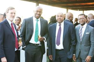 Old Mutual Emerging Market Directors and Captains of Industry came together last week to show their appreciation for the 17 years of Visionary Service endured by Johannes !Gawaxab during his time in office. From left to right: Jens Kuehirt, Ralph Mupita; CEO: Old Mutual Emerging Markets, Johannes !Gawaxab and Dr Tjama Tjivikua.