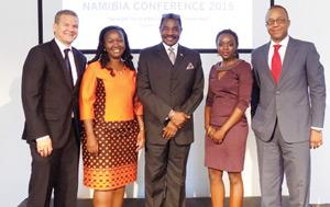 From left to Right: Andrew Jansen (Managing Director: Simonis Storm Securities); Nambata Shipanga (Senior Manager: PwC), Prof. Dr. Joseph B. Diescho (Executive Director: NIPAM), Candy Ngula (Manager Advisory Services: PwC) and Ebson Uanguta (Deputy Governor: Bank of Namibia).