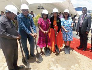 Breaking ground. From left to right; GIPF CEO David Nuyoma, SWAPO Party SG, Hon. Nangolo Mbumba, Former Deputy Prime Minister, Dr. Libertine Amadhila, Her Worship the Mayor of Okahandja Valery Aron, Deputy Minister of RLHRD Hon. Priscilla Beukes, Governer of the Otjozondjupa Region, Hon. Samuel Nuuyoma. (Photograph by Ogone Tlhage)