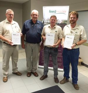 Dawid Krause of Feedmaster with the three top sellers of licks and fodder, Bonnie van Zyl of Agra Otjiwarongo (third), Andries van der Merwe of Windhoek branch (most tonnes sold) and Johan Leijenaar of Grootfontein (2nd).